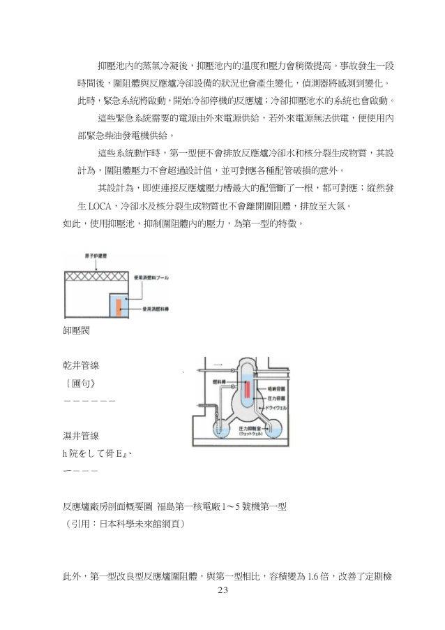 23 、 抑壓池內的蒸氣冷凝後,抑壓池內的溫度和壓力會稍微提高。事故發生一段 時間後,圍阻體與反應爐冷卻設備的狀況也會產生變化,偵測器將感測到變化。 此時,緊急系統將啟動,開始冷卻停機的反應爐;冷卻抑壓池水的系統也會啟動。 這些緊急系統需要的電...