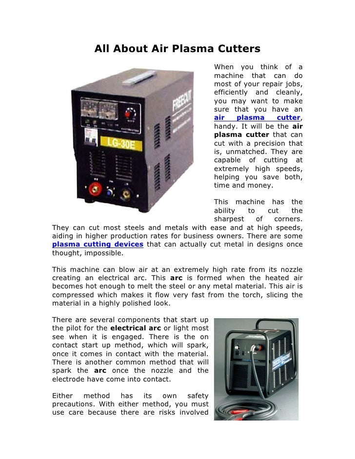 All About Air Plasma Cutters                                                  When you think of a                         ...