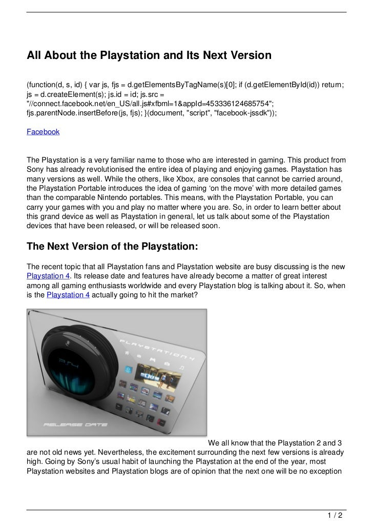All About the Playstation and Its Next Version(function(d, s, id) { var js, fjs = d.getElementsByTagName(s)[0]; if (d.getE...