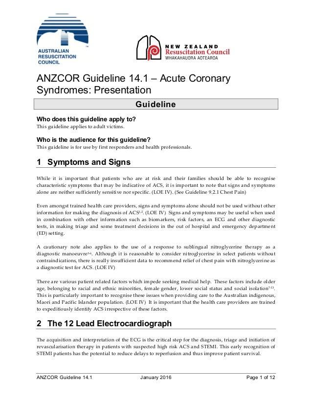 2016 ancor guideline 14.1-acute coronary syndromes