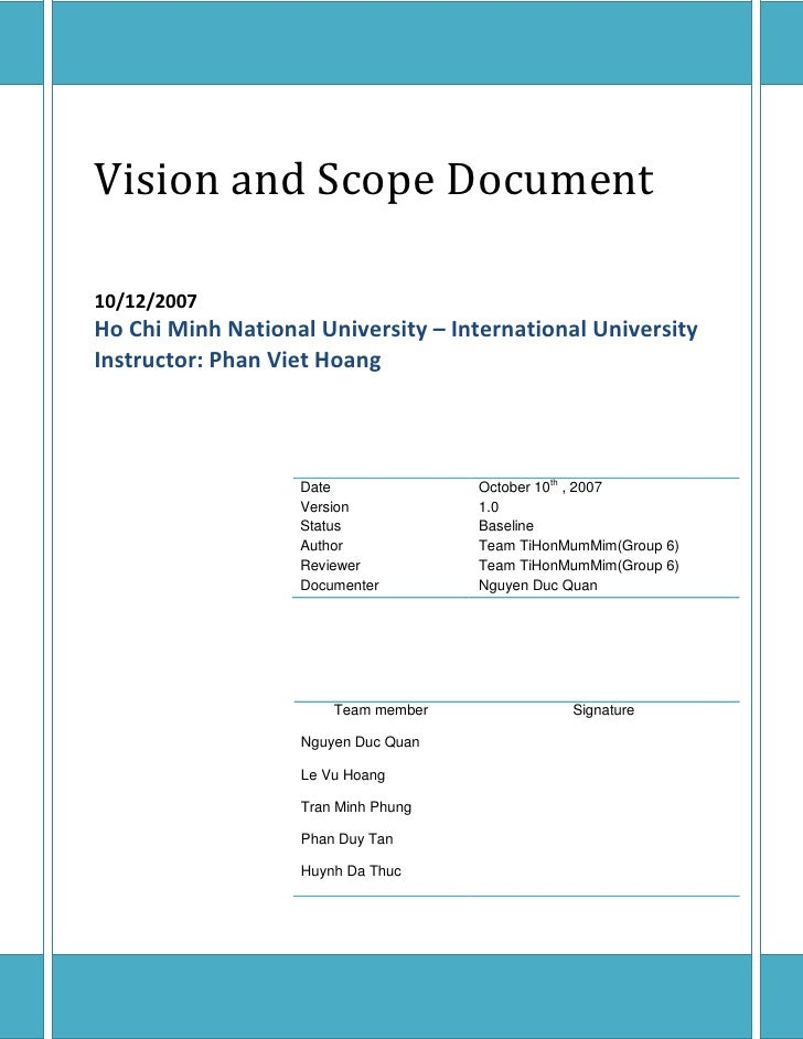 Vision and Scope Document  10/12/2007 Ho Chi Minh National University – International University Instructor: Phan Viet Hoa...