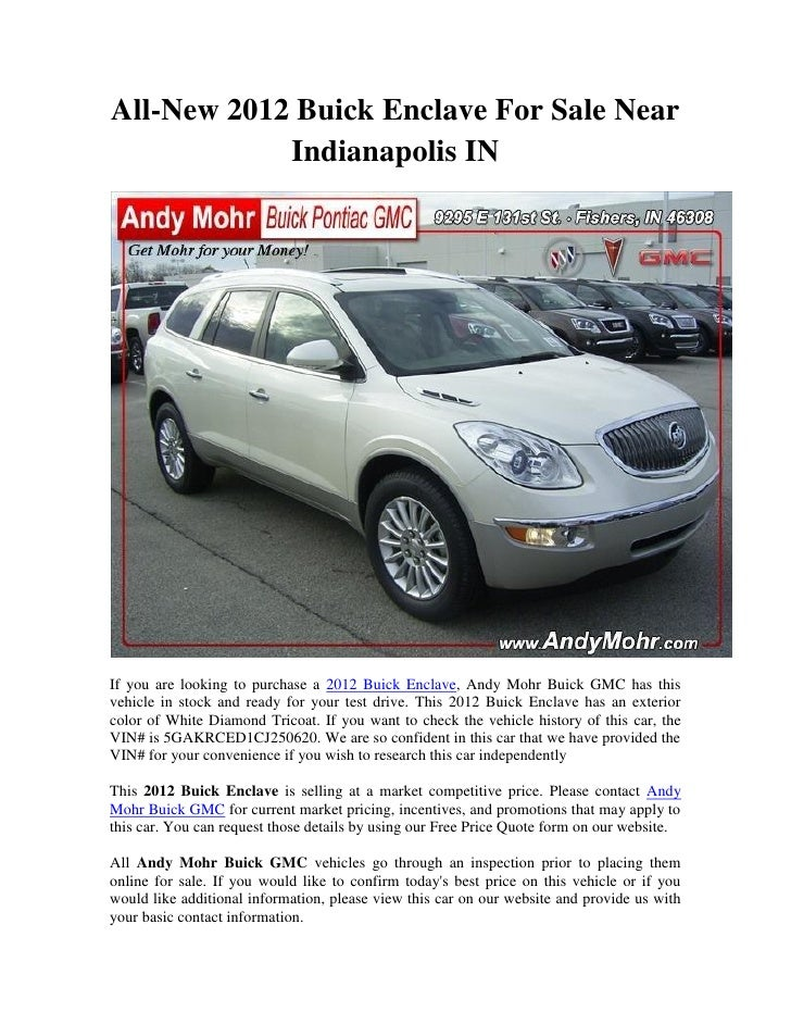 2012 Buick Enclave For Sale >> All New 2012 Buick Enclave For Sale Near Indianapolis In