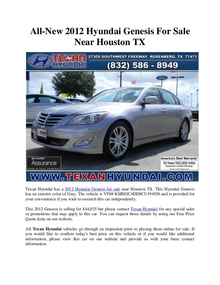 all new 2012 hyundai genesis for sale near houston tx. Black Bedroom Furniture Sets. Home Design Ideas