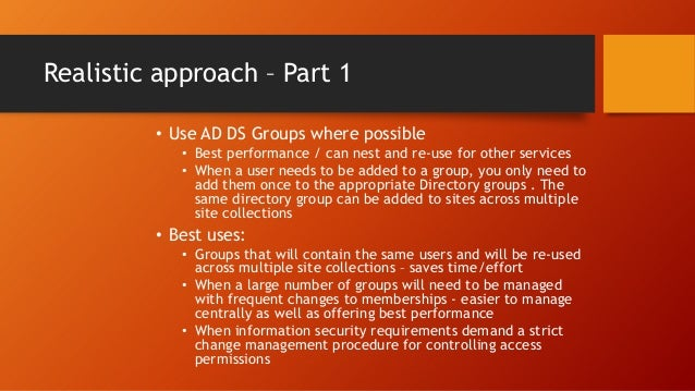Default Groups Part 1 • The following are the default groups created automatically for team sites in SharePoint 2013 Group...