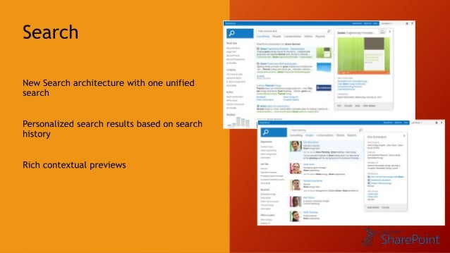Social Interaction  Ask colleagues for expertise  Follow relevant content and subject matter experts  Preview content inli...