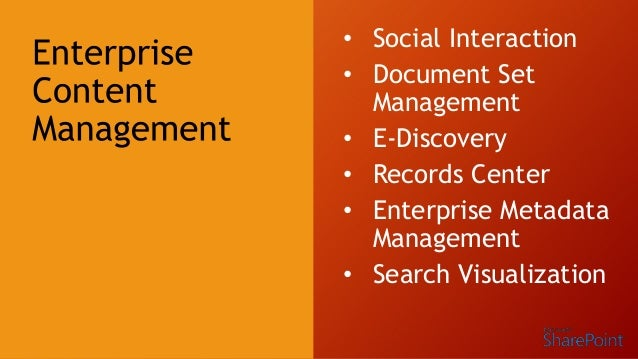 Enterprise Metadata Management Metadata as enabler for Navigation, term and search driven pages, etc. New term store manag...