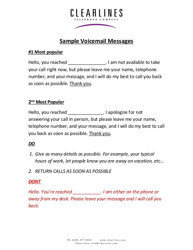 Sample voicemail greetings m4hsunfo