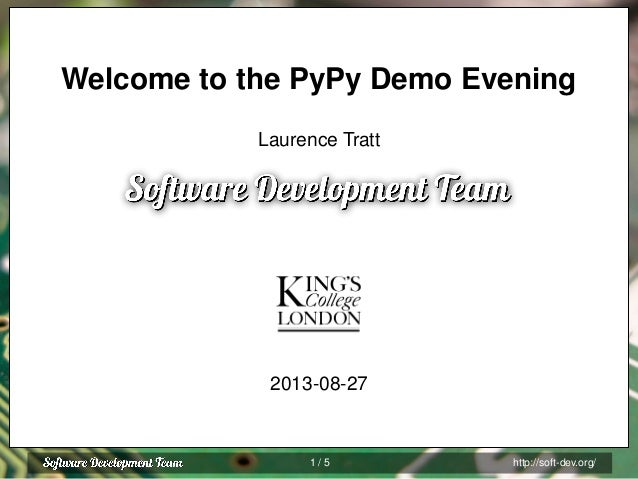 Looking for Python developers! Speak to us at PyPy demo night or visit www.pitchup.com/jobs Python / Django Postgres Celer...