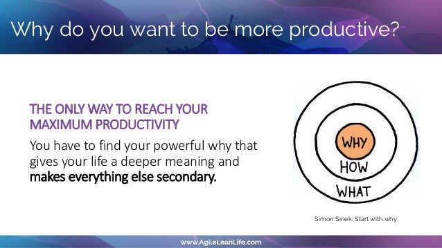THE ONLY WAY TO REACH YOUR MAXIMUM PRODUCTIVITY You have to find your powerful why that gives your life a deeper meaning a...