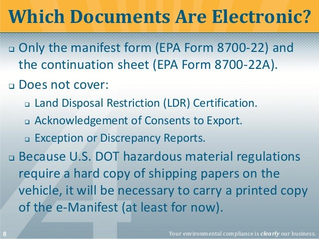 Overview of the Federal Hazardous Waste Electronic Manifest Rule