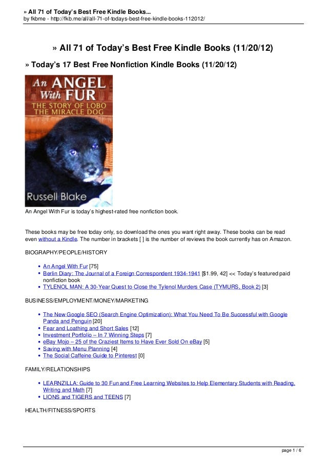 » All 71 of Today's Best Free Kindle Books...by fkbme - http://fkb.me/all/all-71-of-todays-best-free-kindle-books-112012/ ...