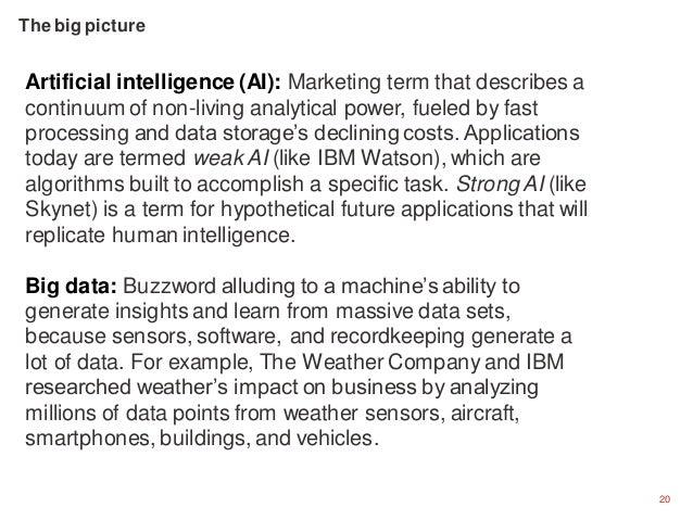20 Artificial intelligence (AI): Marketing term that describes a continuum of non-living analytical power, fueled by fast ...