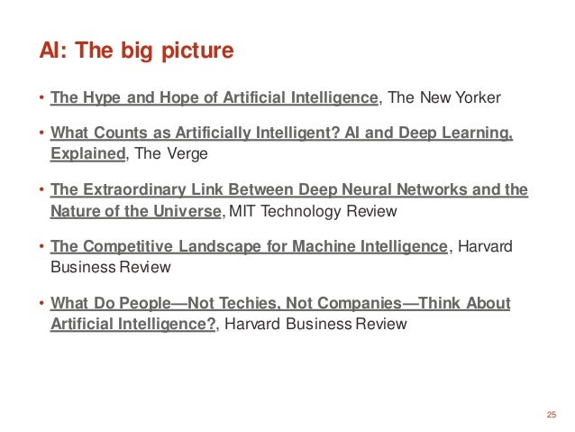 25 AI: The big picture • The Hype and Hope of Artificial Intelligence, The New Yorker • What Counts as Artificially Intell...