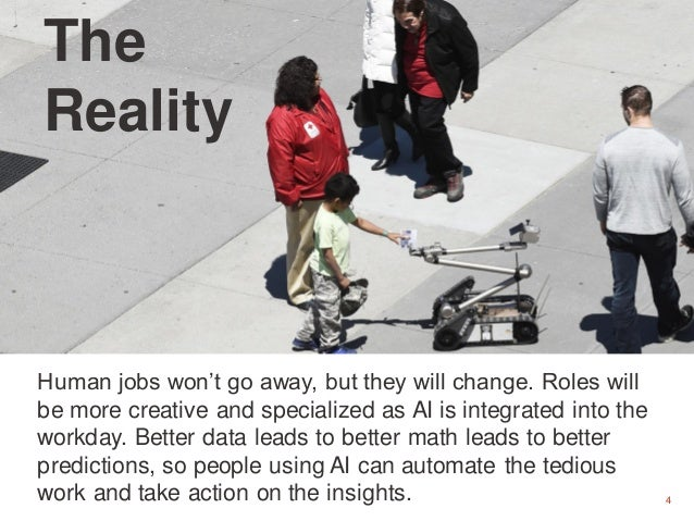 4 The Reality Human jobs won't go away, but they will change. Roles will be more creative and specialized as AI is integra...