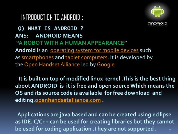 All about androidIntroduction to Android; 7.