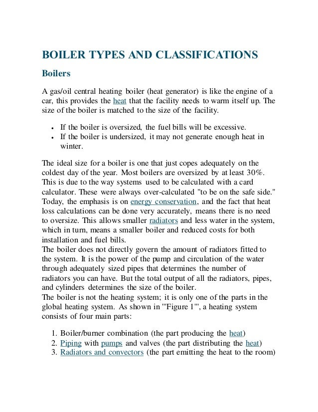 All about boilers: Complete Basics, Classification of boilers,types