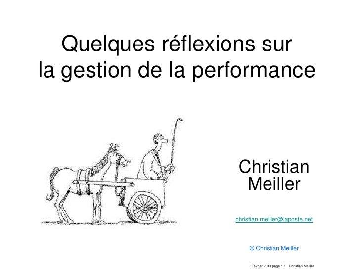 Quelques réflexions sur la gestion de la performance                        Christian                      Meiller        ...