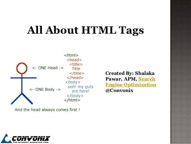 All About HTML Tags            Created By: Shalaka            Pawar, APM, Search            Engine Optimization           ...