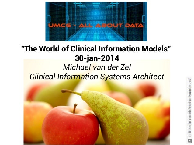 """The World of Clinical Information Models"" 30-jan-2014 Michael van der Zel Clinical Information Systems Architect"