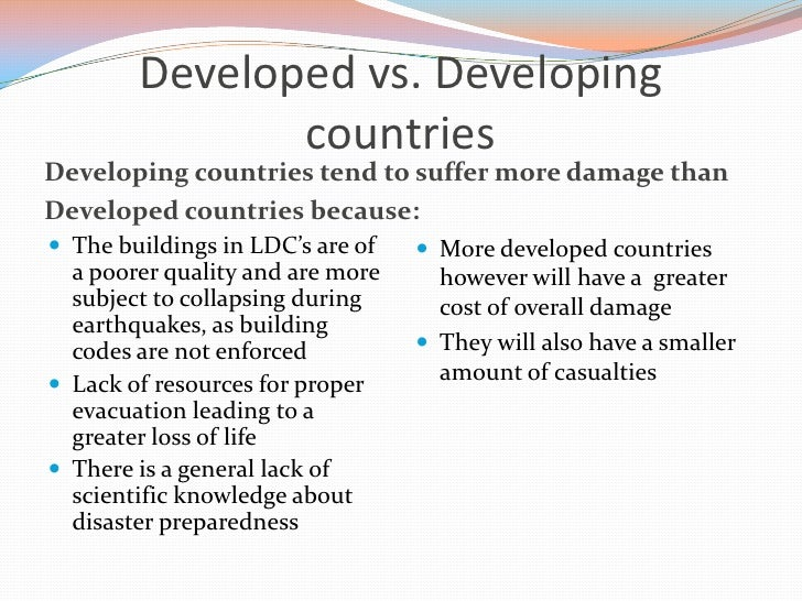 developing countries vs developed countries Difference between developed and developing countries countries are classified by economic development the united nations groups nations as developing or developed, and nations experiencing significant change, for example, turkmenistan, kyrgyzstan, and kazakhstan.