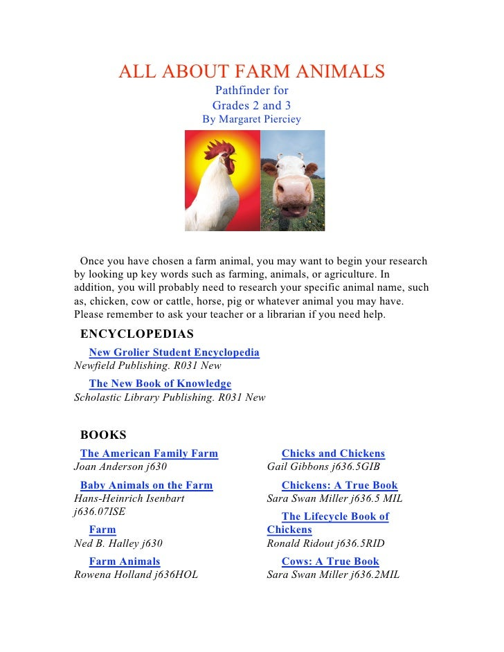 ALL ABOUT FARM ANIMALS                              Pathfinder for                              Grades 2 and 3            ...