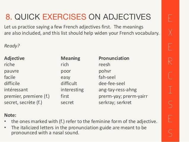 French Adjectives - Adjectifs. All about French adjectives