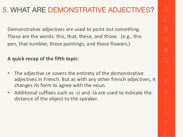 French adjectives adjectifs all about french adjectives 7 5 what are demonstrative adjectives platinumwayz