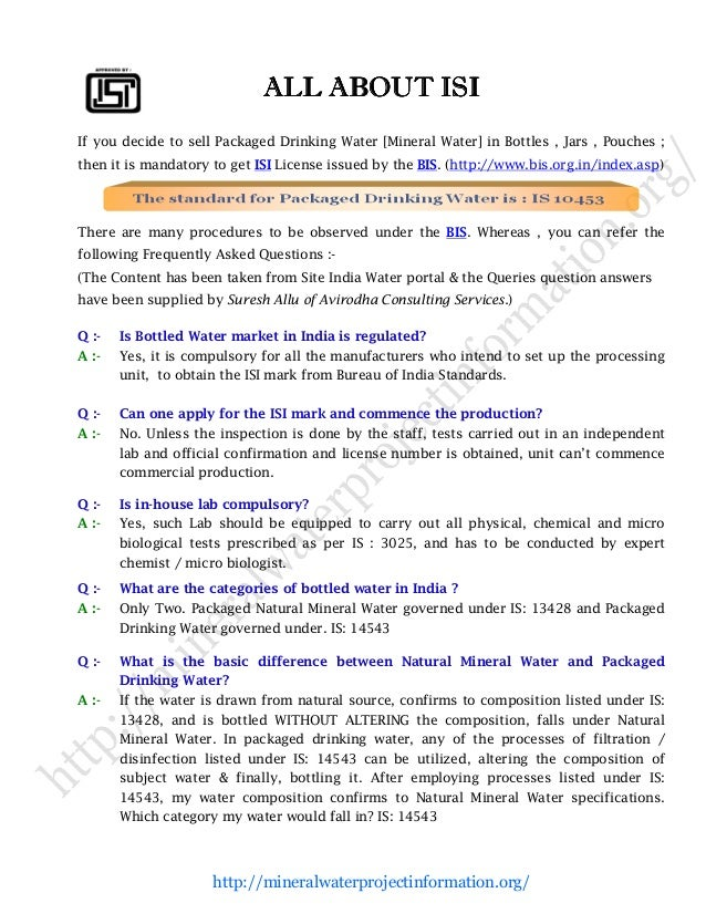 project report on packaged drinking water plant Detailed project reports & profiles on packaged drinking water - manufacturing plant, detailed project report, profile, business plan, industry trends, market research, survey, manufacturing process, machinery, raw materials, feasibility study, investment opportunities, cost and revenue.