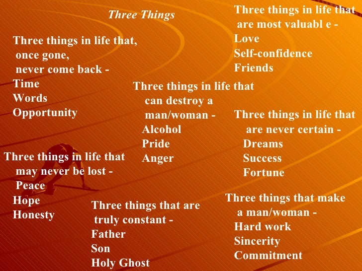 Three things in life that,      once gone,      never come back -    Time    Words     Opportunity Three things in lif...