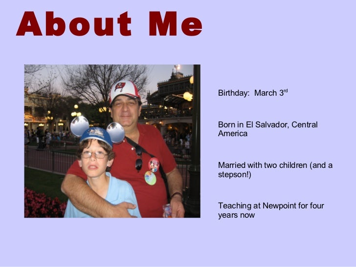 All About Me   Example Slide 2