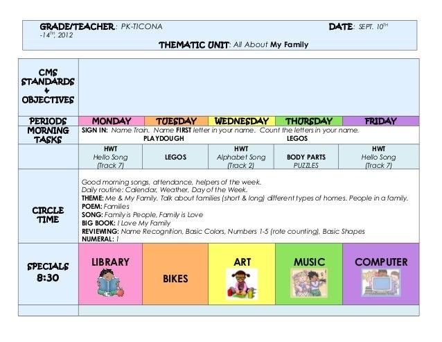 GRADE/TEACHER : PK-TICONA                                                              DATE: SEPT. 10TH   -14TH, 2012     ...