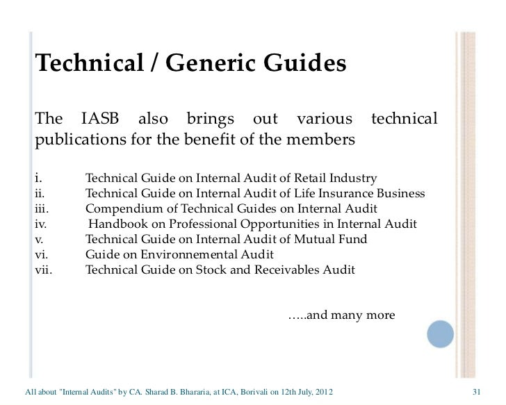 Technical Guide on Internal/Concurrent Audit of Investment ...