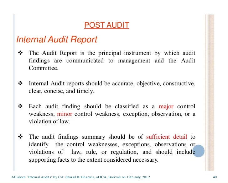 Internal auditor reports to whom