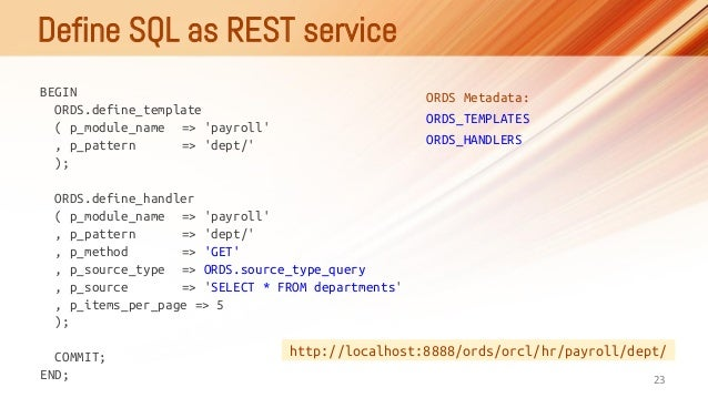 ORDS - Oracle REST Data Services