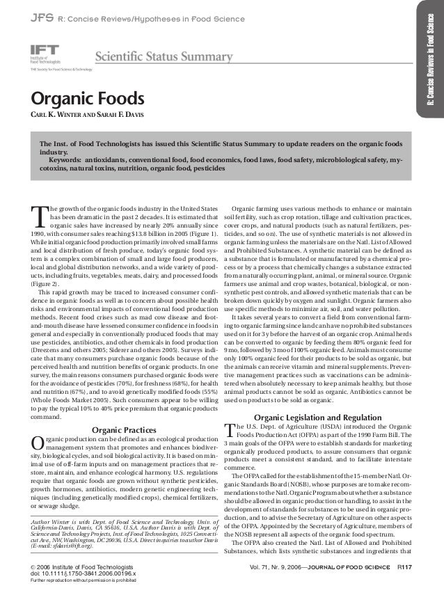 R:ConciseReviewsinFoodScience JFS R: Concise Reviews/Hypotheses in Food Science Organic Foods CARL K. WINTER AND SARAH F. ...