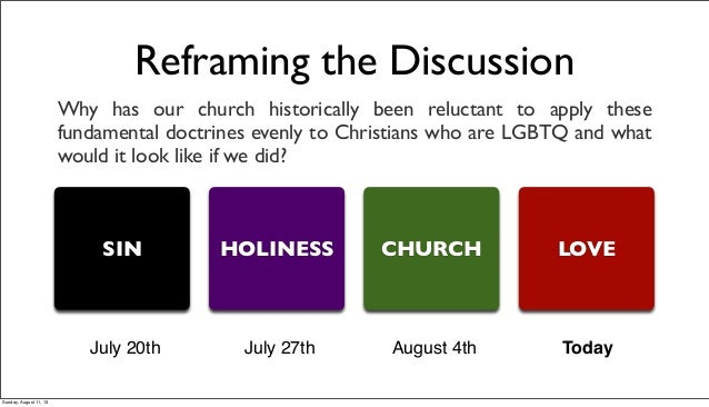 Reframing the Discussion Why has our church historically been reluctant to apply these fundamental doctrines evenly to Chr...