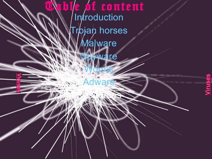 Table of content Introduction Trojan horses Malware Spyware Worms Adware Resources