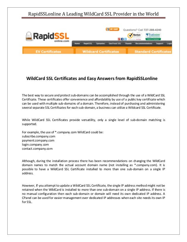 Know Everything About Wildcard Ssl Certificate From Rapidsslonline