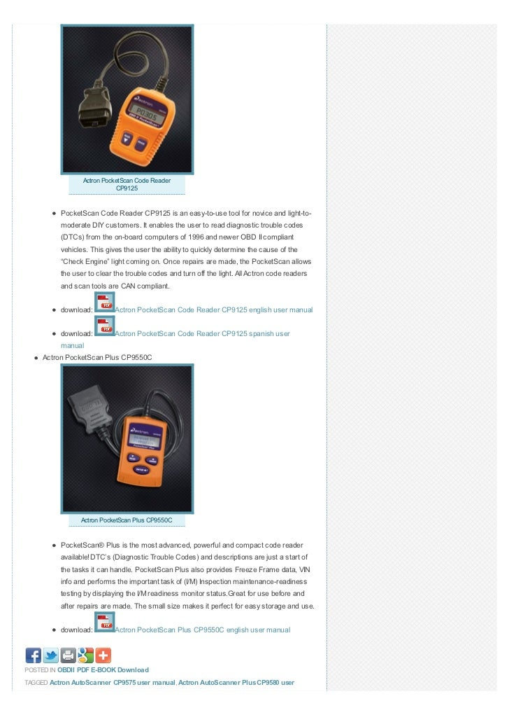 all actron auto scanner code reader scan tool user manual download rh slideshare net actron user manual actron cp9185 user manual