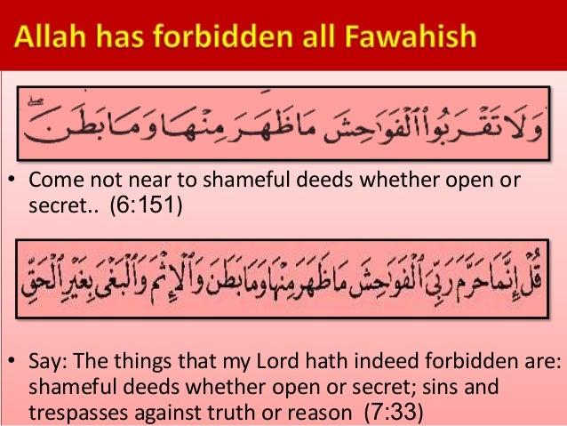 Allah forbids fahisha