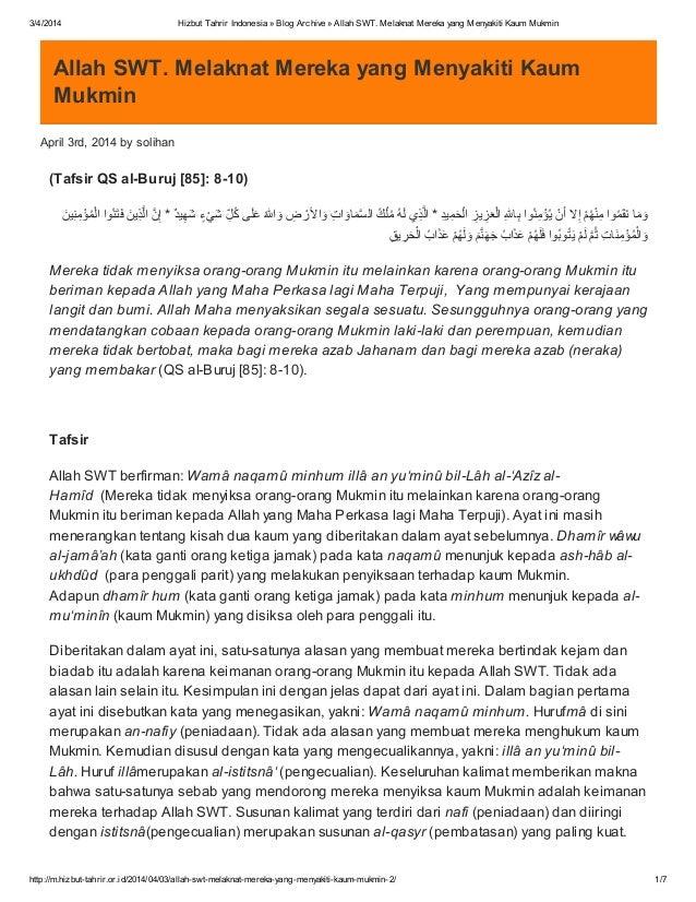 3/4/2014 Hizbut Tahrir Indonesia » Blog Archive » Allah SWT. Melaknat Mereka yang Menyakiti Kaum Mukmin http://m.hizbut-ta...