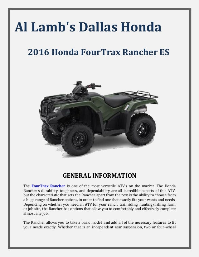 Al lamb 39 s dallas honda 2016 honda fourtrax rancher es for Al lamb honda