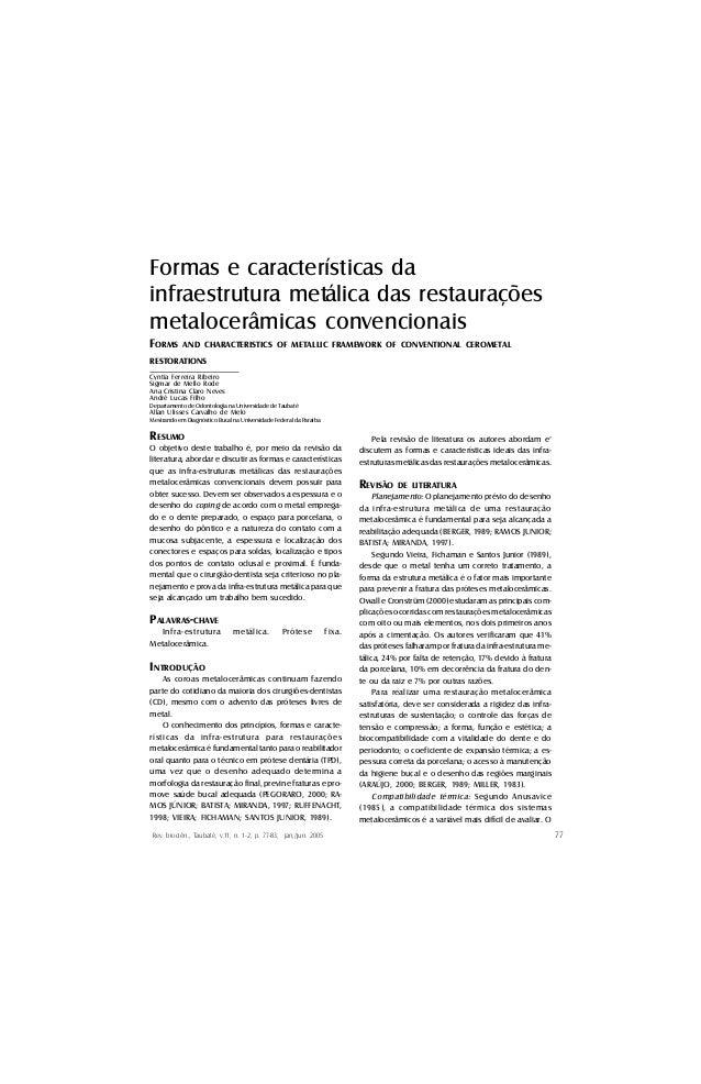 Formas e características da infraestrutura metálica das restaurações metalocerâmicas convencionais FORMS  AND CHARACTERIST...