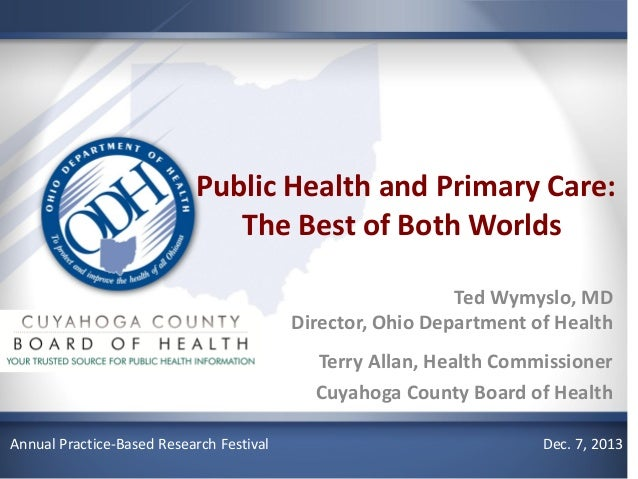 Public Health and Primary Care: The Best of Both Worlds Ted Wymyslo, MD Director, Ohio Department of Health Terry Allan, H...