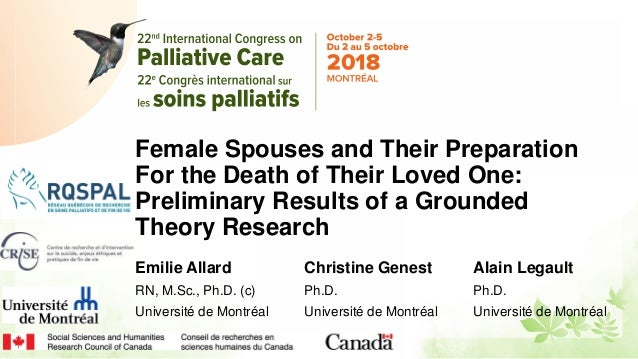 Female Spouses and Their Preparation For the Death of Their Loved One: Preliminary Results of a Grounded Theory Research E...