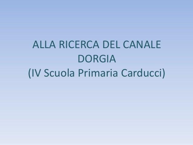 ALLA RICERCA DEL CANALE DORGIA (IV Scuola Primaria Carducci)