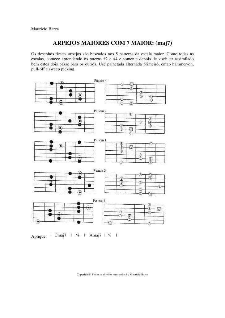 Maurício Barca              ARPEJOS MAIORES COM 7 MAIOR: (maj7) Os desenhos destes arpejos são baseados nos 5 patterns da ...