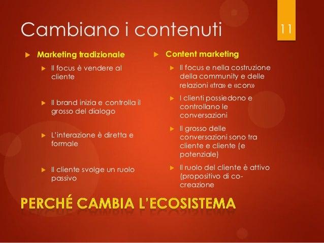 Cambiano i contenuti                                                              11   Marketing tradizionale            ...