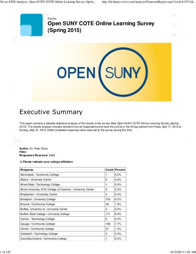 Survey: Open SUNY COTE Online Learning Survey (Spring 2015) Executive Summary This report contains a detailed statistical ...