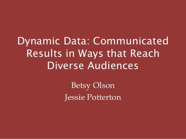 Dynamic Data: Communicated Results in Ways that Reach Diverse Audiences Betsy Olson Jessie Potterton